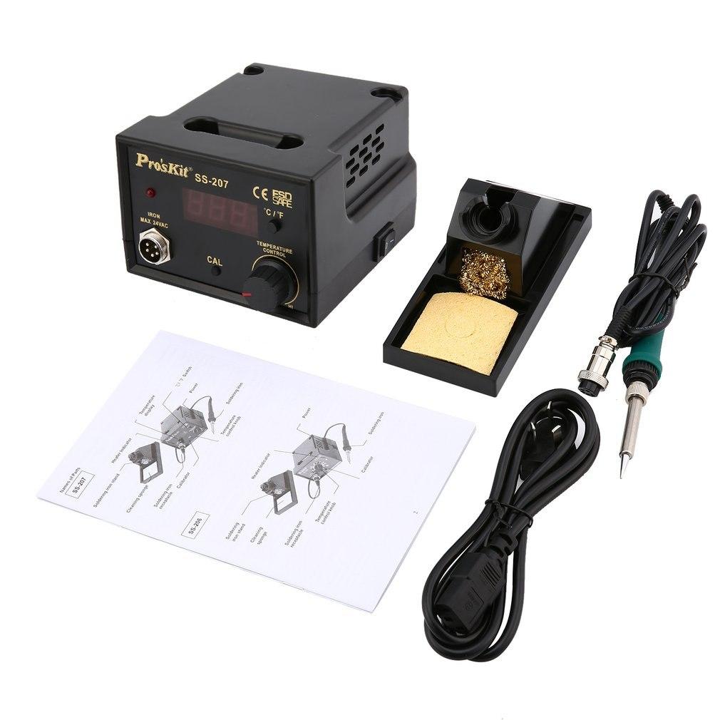 цена на Pro'skit 60W 220V SS-207H Soldering Station Adjustable Temperature Electric Welding Soldering Iron Solder Rework Repair Tool