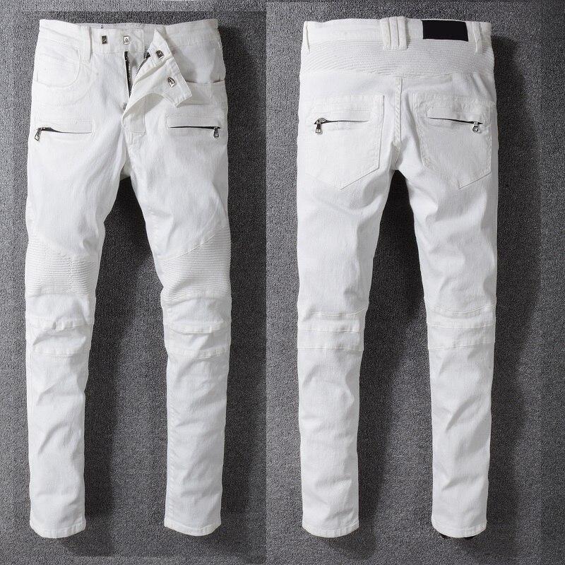 166ab2ad70 Skinny jeans uomo bianco strappato ginocchio zipper moda casual slim ...