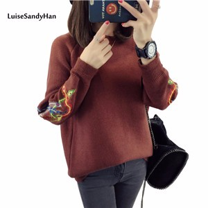 Autumn-winter-thick-line-hedging-knitting-twist-loose-plus-size-high-collar-sweater-pullover-long-sleeve (1)