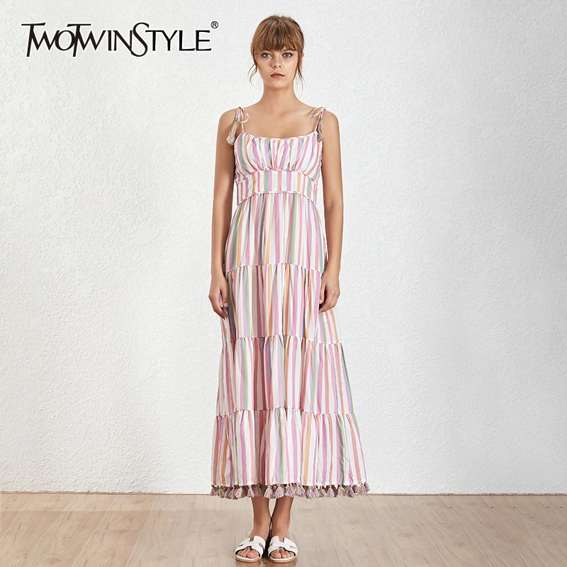 TWOTWINSTYLE Casual Striped Midi Dress Women Strap Off Shoulder Backless High Waist A Line Dresses Female