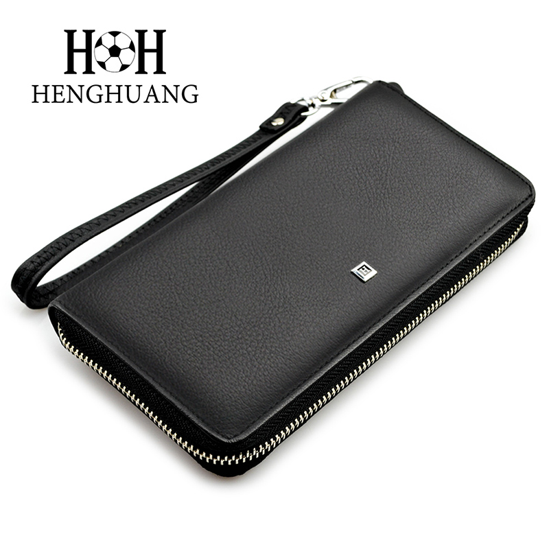 HH Genuine Leather Men Wallet Business Zipper Long Standard Wallets Soft Cow Leather Man Money Purse Clutch With Coin Pocket new arrival 2017 wallet long vintage man wallets soft leather purse clutch designer card holders business handbags clips