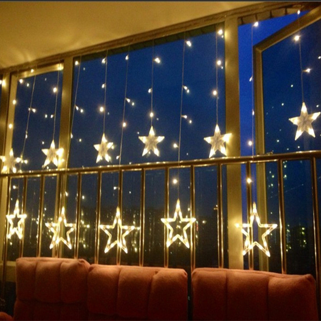 High Quality 110V 220V Romantic LED String Star Curtain Lights Christmas Birthday Home Party Garden