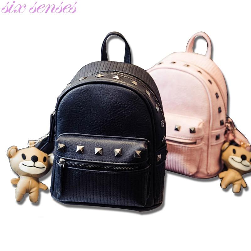 купить Six senses Women Bag Pu Leather Backpack small Casual Backpack Travel Bags girl school Bag rivet Shoulder Bag rucksack XD3585 недорого