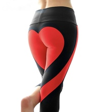 5b53417c3c7 CHRLEISURE S-L Heart Shape Leggings Women New Red Black Color Patchwork  Print Leggins Big Size High