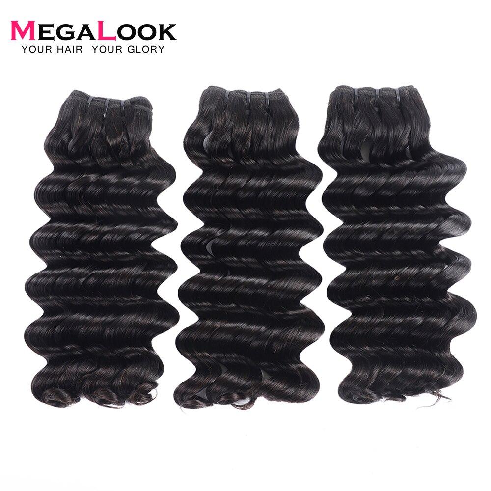 Megalook 3pcs lot Deep Wave Bundles Brazilian Double Drawn Virgin Hair Bundles Unprocessed Weave 100 Human