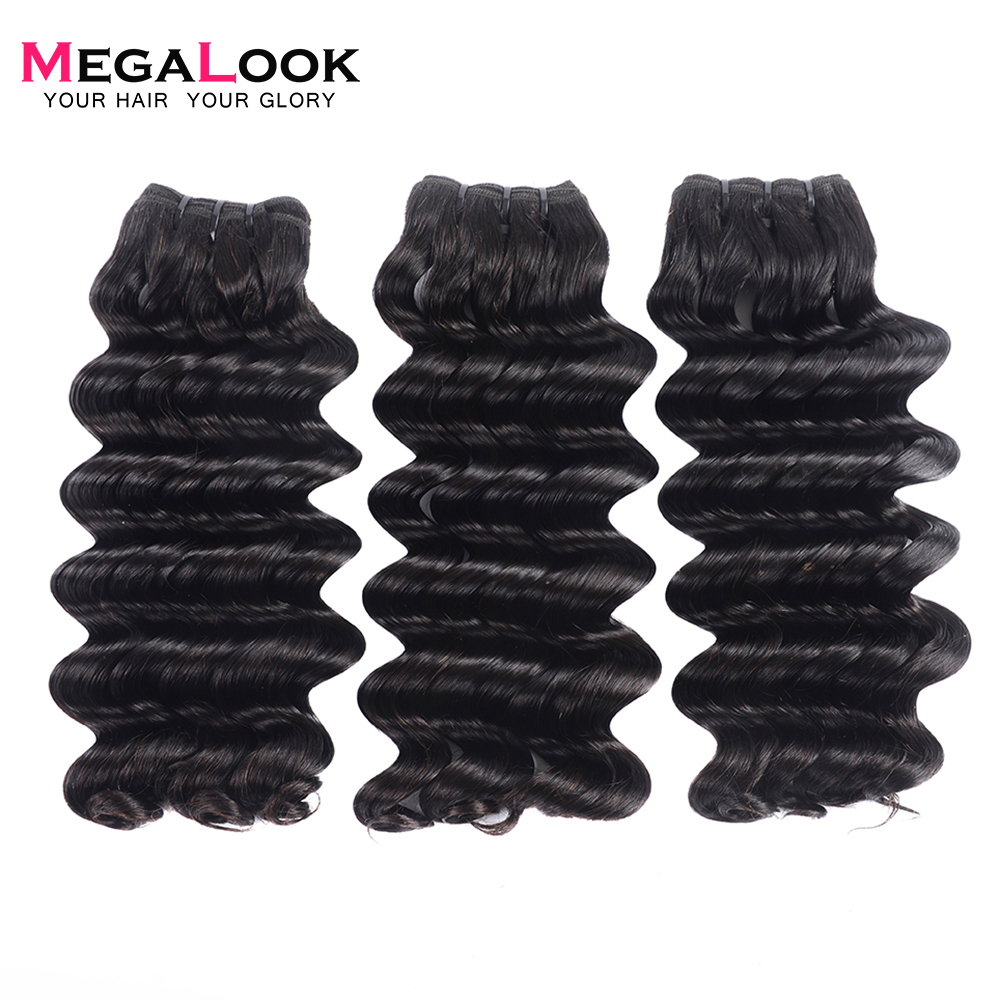 Megalook 3pcs/lot Deep Wave Bundles Brazilian Double Drawn Virgin Hair Bundles Unprocessed Weave 100% Human Hair Extension