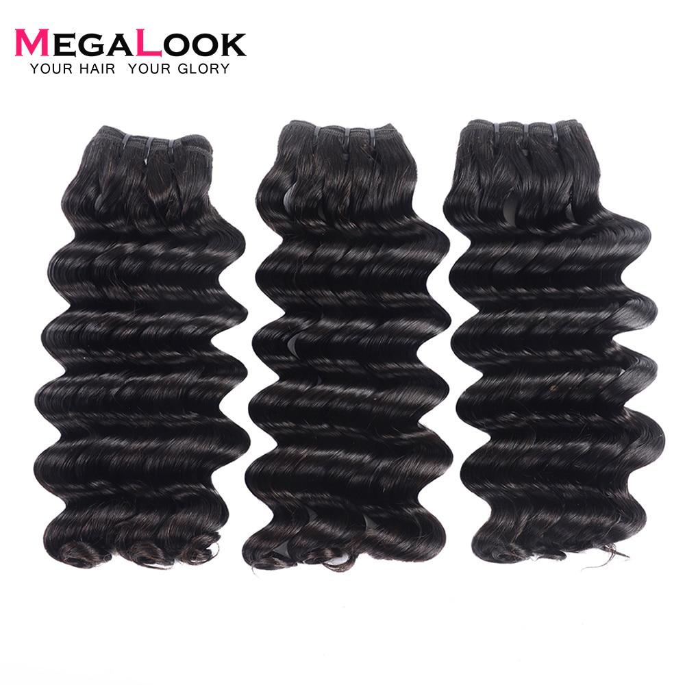 Megalook 3pcs/lot Deep Wave Bundles Brazilian Double Drawn Virgin Hair Bundles Unprocessed Weave 100% Human Hair Extension