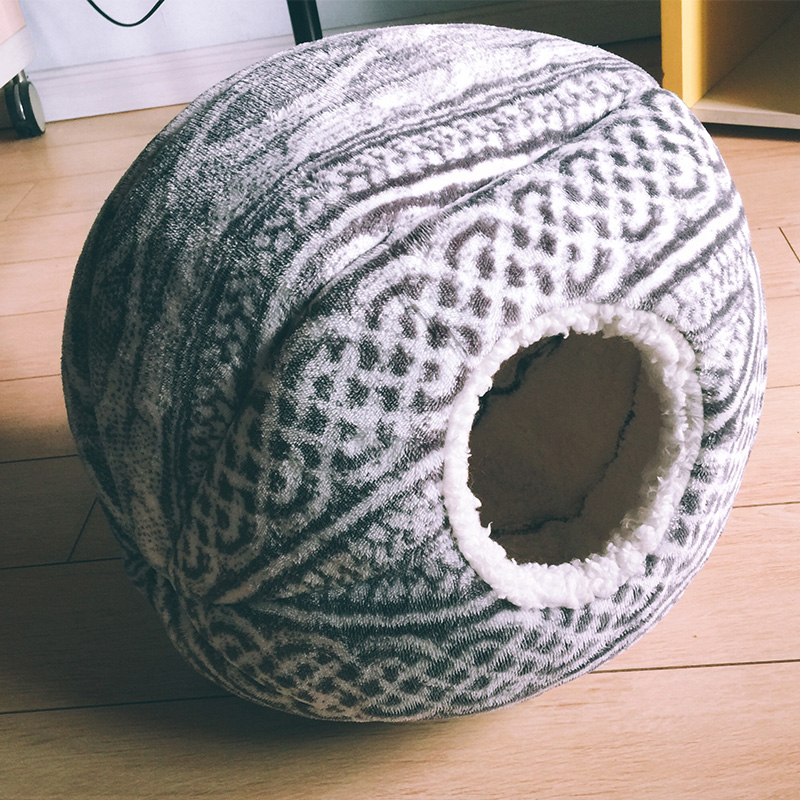 Petshy Spherical Cat Dog House Nest Foldable Soft Warm Winter Puppy Kitten Small Dogs Cave Sleeping Mat Kennel Pet Cat Playhous in Cat Beds Mats from Home Garden