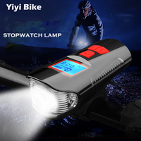 Fiets Licht LED Waterdichte Lamp USB Lader Fiets Voorste Flash Light Fiets Snelheid Teller LCD Display Grote Lithium Batterij