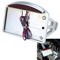 Motorcycle Chrome Plate Side Mount Tail Light Axle Chopper License Plate Light w/ Bracket For Harley