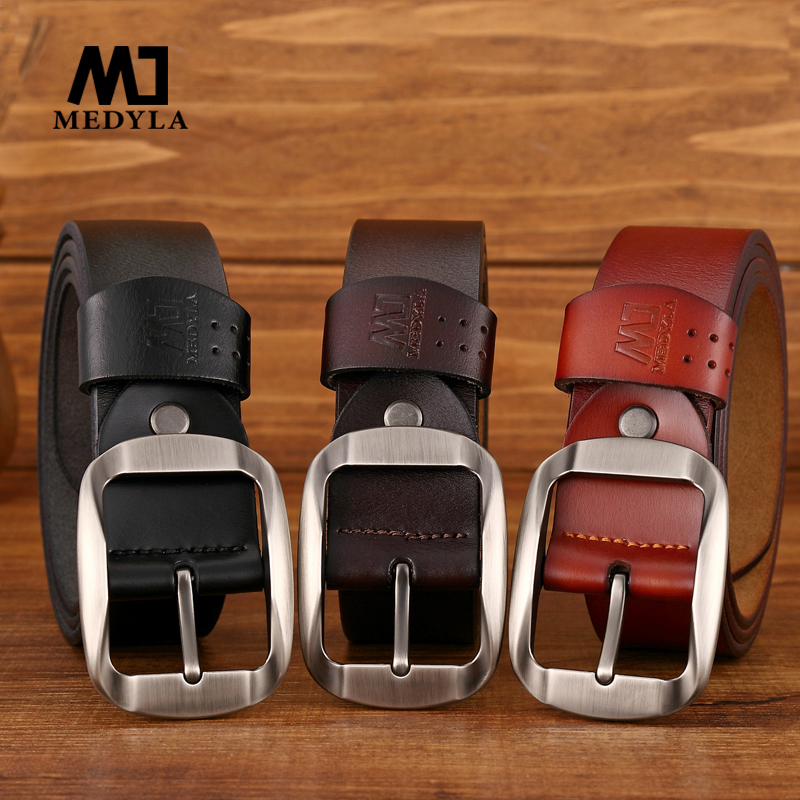 MEDYLA   belt   male cowhide genuine leather   belts   for men brand Strap male pin buckle vintage jeans   belt   110cm-125cm