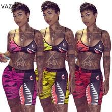 VAZN, камуфляжный комплект из двух предметов с разноцветным принтом, укороченный топ на бретельках без рукавов и короткие штаны футляр, спортивный костюмСпортивные костюмы    АлиЭкспресс