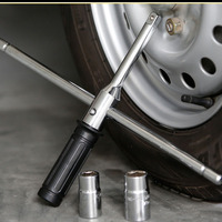 portable combined tire wrench lug nut car wheel rim tyre spin handle cross wrench changable L spanner auto tool with 2 sockets