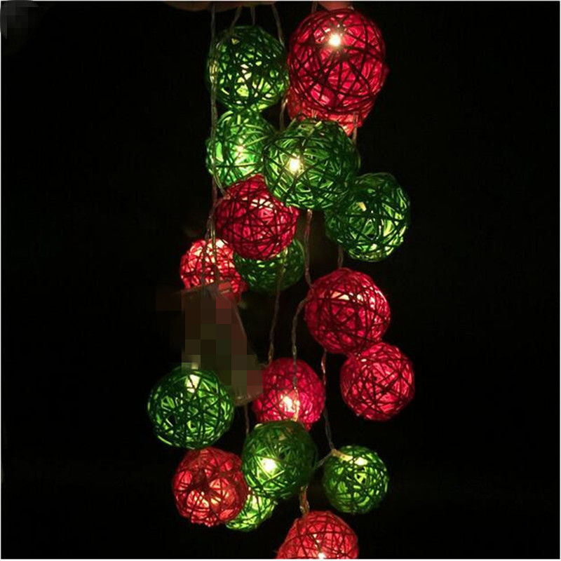 5M 28 Red Green Rattan Ball LED String Fairy Lights for Kids Bedroom Nursery Party Christmas Wedding Decorations