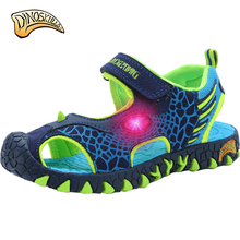 2017 Boys cartoon glowing sandals Boys sneakers kids shoes luminous tenis led infantil boys beach sandals 3D dinosaur sandals