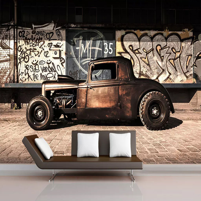 Custom Photo <font><b>Wallpaper</b></font> <font><b>3D</b></font> Retro Graffiti Nostalgia Old <font><b>Car</b></font> Mural Restaurant Cafe Living Room Background Wall Decor <font><b>3D</b></font> Wall Paper image