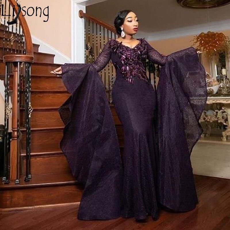 Chic Muslim Arabic Mermaid Prom Dresses 2019 New Puffy Long Sleeves Evening Dress Plus Size Women Formal Gowns Robe De Soiree