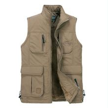 new Autumn&Winter Men photography vest men Multi-pocket  Man Lambs wool lining Warm vests Plus Size S-4XL