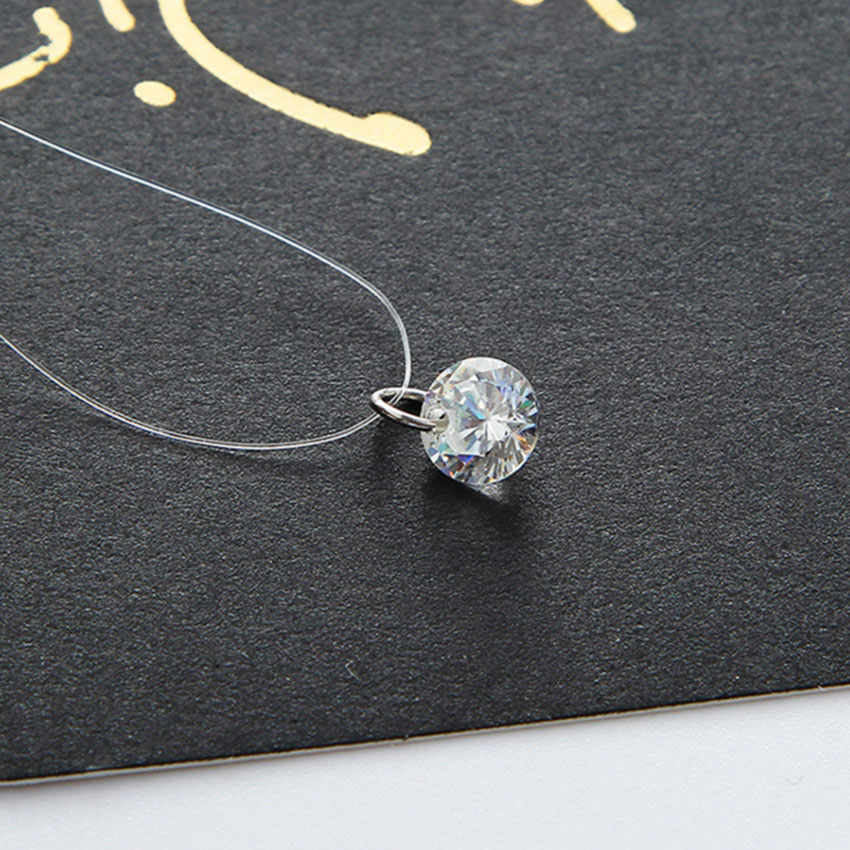 2017 Crystal Zircon CZ Necklace Pendants Choker Invisible Transparent font b Fishing b font font b