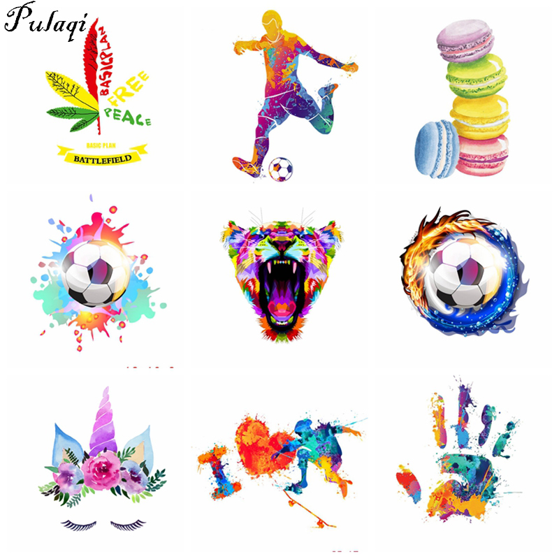 Pulaqi Football Patch Heat Transfer Iron On A-level Washable Patches Diy For Clothes Kids Stickers Unicorn Appliqued H