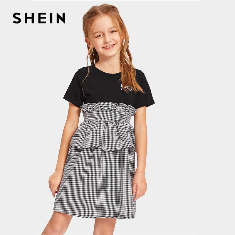 SHEIN Kiddie/повседневное платье в клетку с рюшами на молнии сзади и цветными блоками для девочек 2019 летние мини-платья с короткими рукавами и высокой талией для подростков