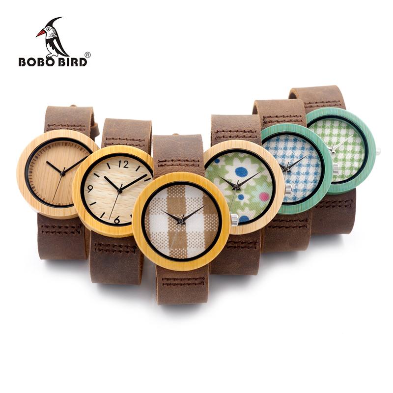 Prix pour Bobo bird haute qualité new bamboo bois montre cas avec japonais miyota mouvement bracelet en cuir en boîte cadeau pour les femmes
