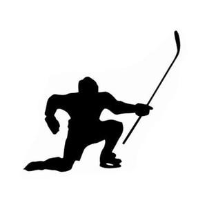 13.8CM*12.3CM Interesting Hockey Sport Black/Silver Vinyl Car Sticker Silhouette Decoration S9-1169