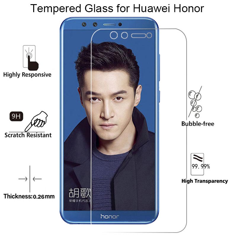 Screen Protector for Huawei <font><b>Honor</b></font> 7 V8 <font><b>8</b></font> <font><b>Pro</b></font> 7S <font><b>Tempered</b></font> Protective <font><b>Glass</b></font> on <font><b>Honor</b></font> 9 Light 10 V9 Play View 10 9 Lite image
