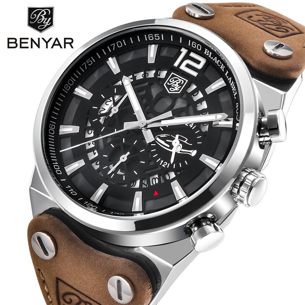BENYAR большой циферблат дизайн хронограф спортивные мужские часы модного бренда Военная Водонепроницаемый Кварцевые часы Relogio Masculino