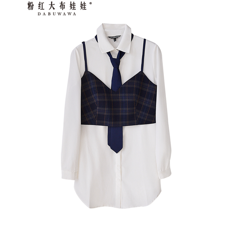 Dabuwawa Women s Autumn Blouse Sets Single Button Drawstring Tie White Shirts And Strap Vest Preppy