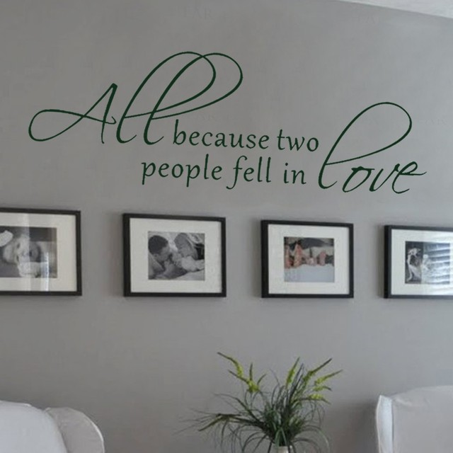 All because two people fell in love wall decal love words expressions sayings quotes vinyl
