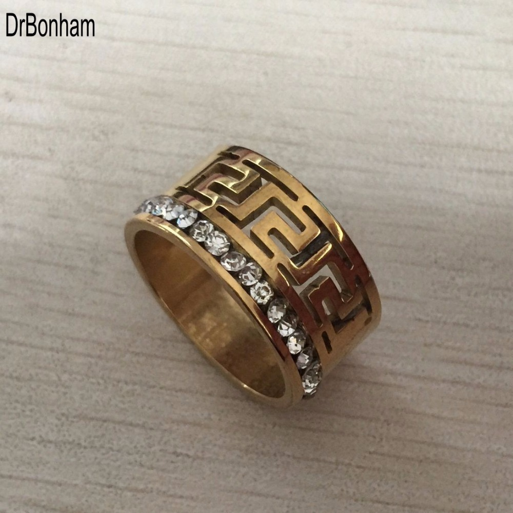 Luxury Brand Wide 10mm Gold color Multilayer Hollow greek key Rings for Women men Trendy Stack Ring Jewelry Female Finger Ring