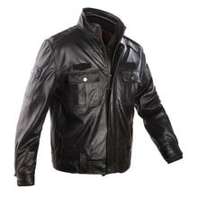 Humiture genuine Sheepskin Leather Jacket High Quality Warm Mens Black Jacket 9901A