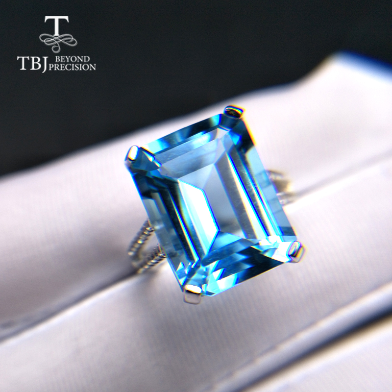 TBJ Big Natural Blue topaz Ring oct 12 16mm 13 2ct gemstone fine jewelry 925 sterling
