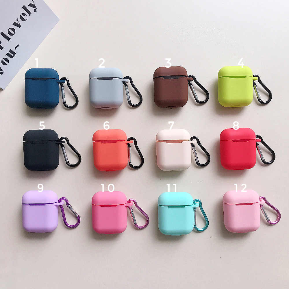 Silicone Airpods Case Protective cover with hook for Apple Bluetooth Earphone for Girls men Holiday Gifts