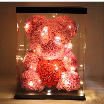 Hot Sale Creativity Valentines Gift 19 Colors PE Rose Bear With Heart Wedding Decorate Girlfriend gifts Anniversary Present 1