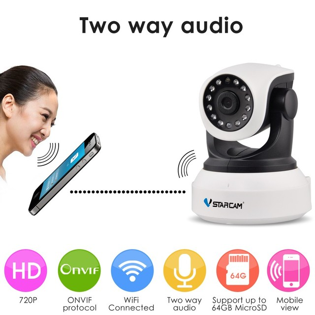 VStarcam C7824WIP 720P Wifi Security IP Camera Onvif IR Night Vision Audio Recording Surveillance Wireless HD IP Camera