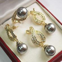 Благородство удача женский натуральный жемчуг из ракушки AAA 12 мм серый Подвеска из перламутровой жемчужины ожерелье серьги кольцо набор 033 серебряный крючок