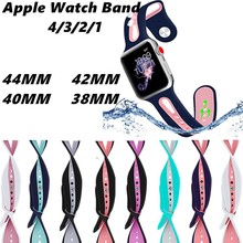 Sports Watch Band Soft Silicone Strap For Apple Watch 44/42/40/38mm Wristband Breathable Bracelet Band For IWatch Series 4/3/2/1 colorful flower skull sports silicone band for apple watch iwatch rubber watch strap for apple watch series 2 bracelet 42 38mm