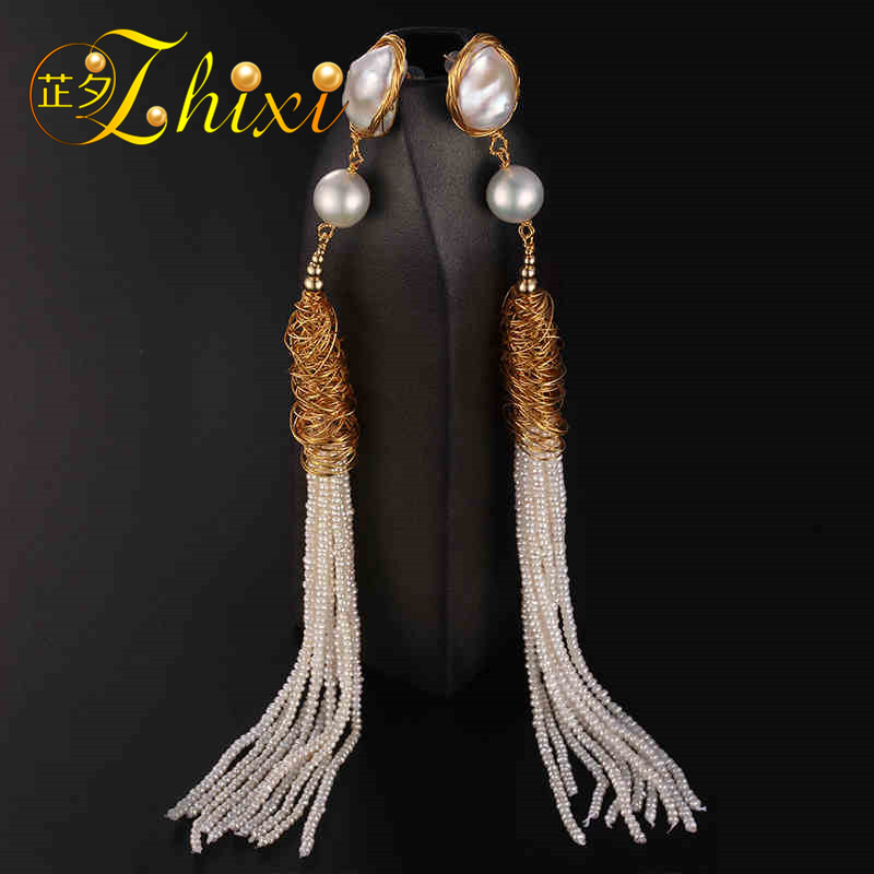 [ZHIXI] Long Tassel Pearl Earrings For Women Fine Jewelry Big Baroque Pearl Drop Earrings Fashion Gift For Party XE213 [zhixi] freshwater pearl earrings for women fine jewelry big pearl earrings gold drop irregular fashion gift for party eb224