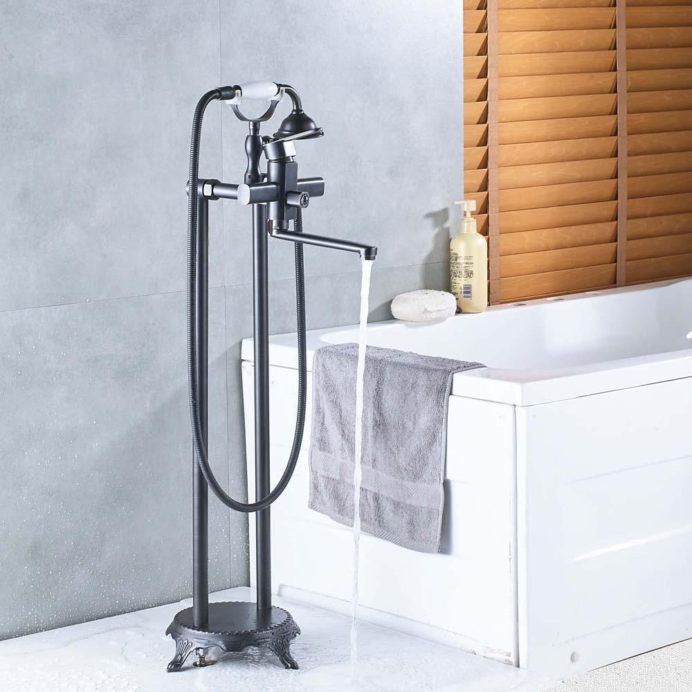 Luxury Two Handle Floor Mounted Bathtub Tap Free Standing Bathroom ...