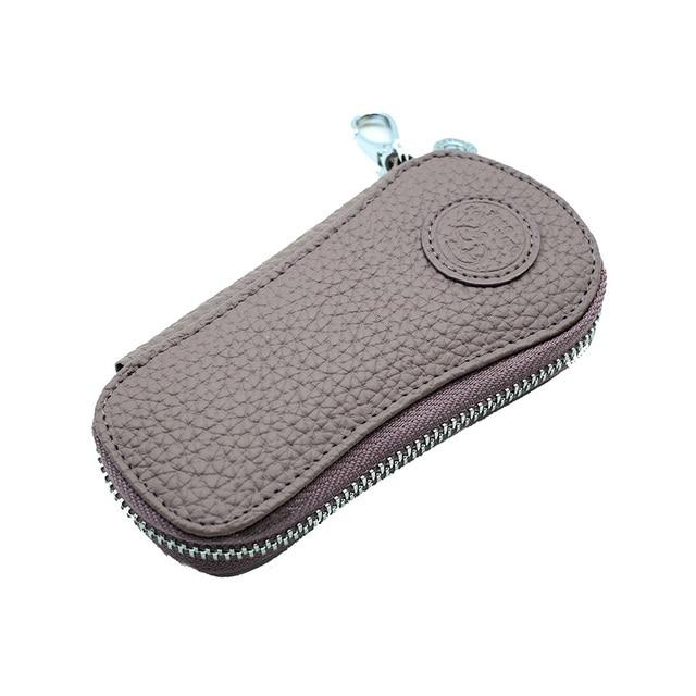 Genuine Leather Car Key Wallets Key Holder Housekeeper Keys Organizer Women Keychain Covers Zipper Key Case Bag Purple