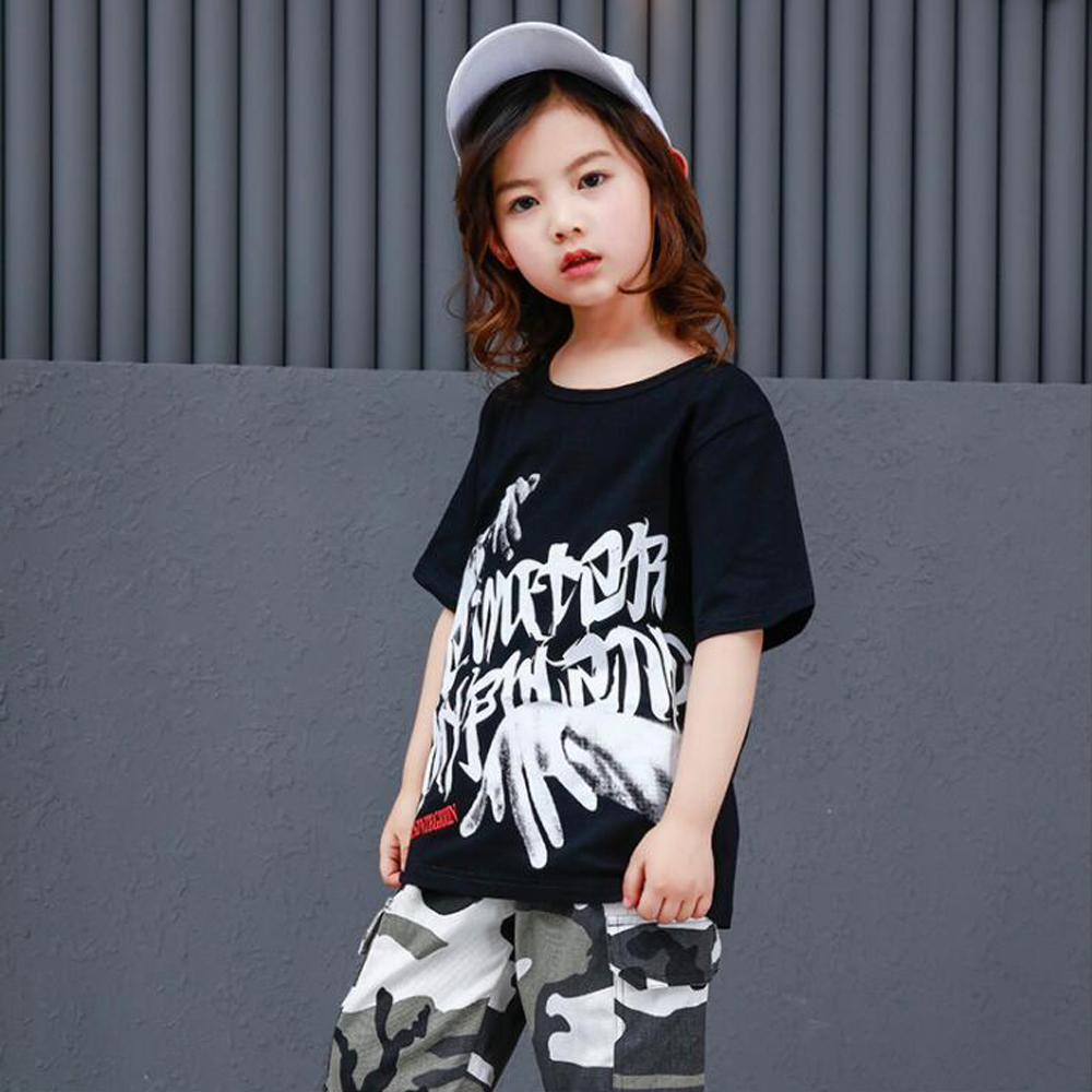 9f200174dfb84 Kids Loose Ballroom Jazz Hip Hop Dance Competition Costume Suits Girl Boy  Black T Shirt Camouflage Pants Dancing Clothes Outfits-in Ballroom from  Novelty ...