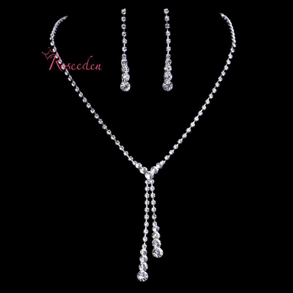 Cheapest!!Korean Style Rhinestone Wedding Jewelry Set Bride Tassels Crystal Wedding Accessories Statement Fine Jewelry SetsRE46