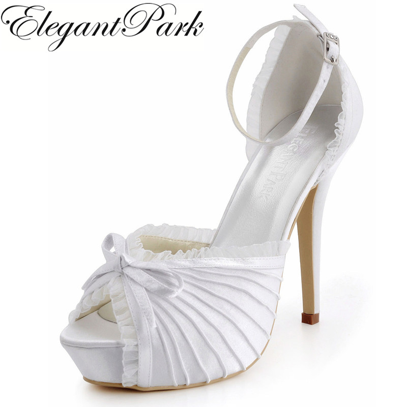 Women Pumps EP11056-IP Peep Toe Bowknots Platform 12CM High Heel Satin Woman Wedding Bridal shoes Bride Lady Ivory Wedding Shoes цены онлайн