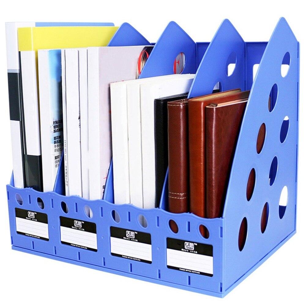 TIANSE TS-1306 Plastic Bookshelf 4 Section Divider File Rack Paper holder Multifunctional Home Office Desktop Storage hanger x 3309 v folded paper dispenser abs plastic wall mounted paper holder home hotel toilet paper box