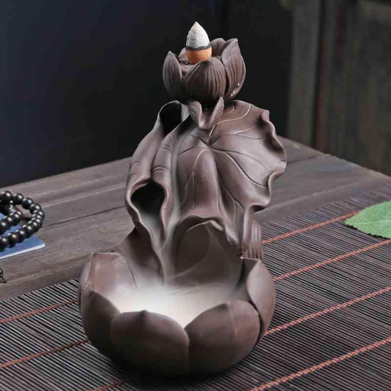 Lotus Flower Backflow Incense Burner Smoke Waterfall Mountain River Handicraft Holder