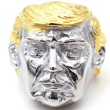 RR116 vintage European and American mens titanium steel ring trump face