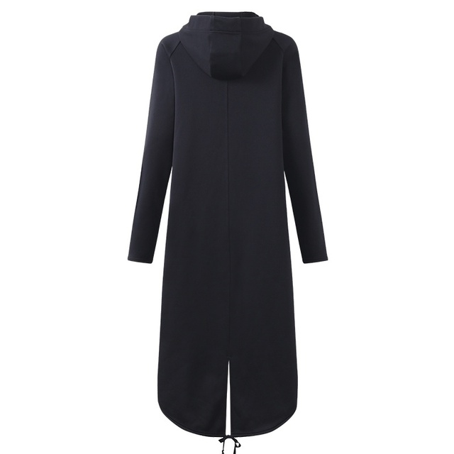 CROPKOP Fashion Long Sleeve Hooded Trench Coat 2018 Autumn Black Zipper Plus Size 5XL Velvet Long Coat Women Overcoat Clothes 5