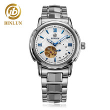 лучшая цена BINLUN Men's Automatic Luxury Watches Tourbillon Stainless Steel Large Face Water Resistant Watch